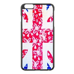 British Flag Abstract British Union Jack Flag In Abstract Design With Flowers Apple Iphone 6 Plus/6s Plus Black Enamel Case