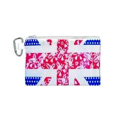 British Flag Abstract British Union Jack Flag In Abstract Design With Flowers Canvas Cosmetic Bag (s)