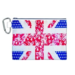 British Flag Abstract British Union Jack Flag In Abstract Design With Flowers Canvas Cosmetic Bag (L)