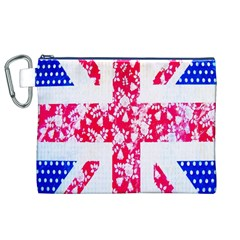 British Flag Abstract British Union Jack Flag In Abstract Design With Flowers Canvas Cosmetic Bag (XL)