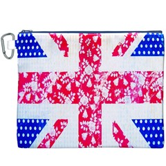British Flag Abstract British Union Jack Flag In Abstract Design With Flowers Canvas Cosmetic Bag (XXXL)