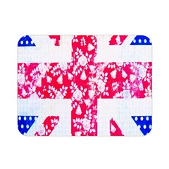 British Flag Abstract British Union Jack Flag In Abstract Design With Flowers Double Sided Flano Blanket (mini)