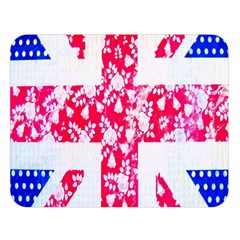 British Flag Abstract British Union Jack Flag In Abstract Design With Flowers Double Sided Flano Blanket (Large)