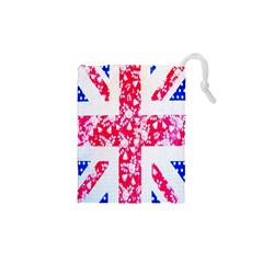 British Flag Abstract British Union Jack Flag In Abstract Design With Flowers Drawstring Pouches (XS)