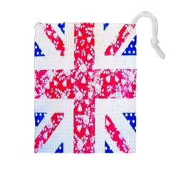 British Flag Abstract British Union Jack Flag In Abstract Design With Flowers Drawstring Pouches (Extra Large)
