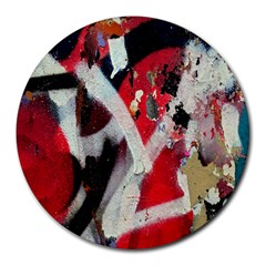 Abstract Graffiti Background Wallpaper Of Close Up Of Peeling Round Mousepads