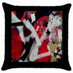 Abstract Graffiti Background Wallpaper Of Close Up Of Peeling Throw Pillow Case (Black)