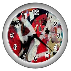 Abstract Graffiti Background Wallpaper Of Close Up Of Peeling Wall Clocks (Silver)