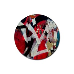 Abstract Graffiti Background Wallpaper Of Close Up Of Peeling Rubber Coaster (Round)