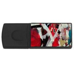 Abstract Graffiti Background Wallpaper Of Close Up Of Peeling USB Flash Drive Rectangular (1 GB)