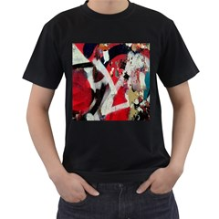 Abstract Graffiti Background Wallpaper Of Close Up Of Peeling Men s T-Shirt (Black) (Two Sided)