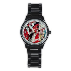 Abstract Graffiti Background Wallpaper Of Close Up Of Peeling Stainless Steel Round Watch