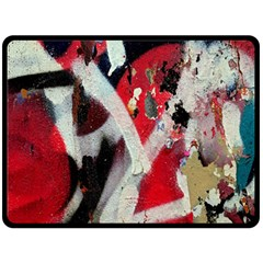 Abstract Graffiti Background Wallpaper Of Close Up Of Peeling Double Sided Fleece Blanket (Large)