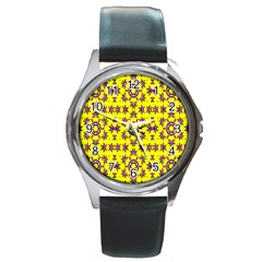 Yellow Seamless Wallpaper Digital Computer Graphic Round Metal Watch