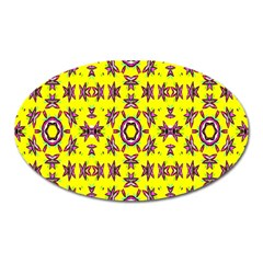 Yellow Seamless Wallpaper Digital Computer Graphic Oval Magnet