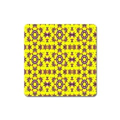 Yellow Seamless Wallpaper Digital Computer Graphic Square Magnet