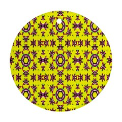 Yellow Seamless Wallpaper Digital Computer Graphic Round Ornament (two Sides)