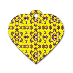 Yellow Seamless Wallpaper Digital Computer Graphic Dog Tag Heart (One Side)