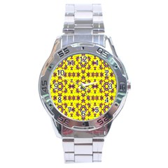 Yellow Seamless Wallpaper Digital Computer Graphic Stainless Steel Analogue Watch