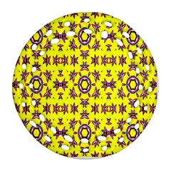 Yellow Seamless Wallpaper Digital Computer Graphic Round Filigree Ornament (Two Sides)