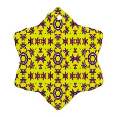 Yellow Seamless Wallpaper Digital Computer Graphic Snowflake Ornament (two Sides)