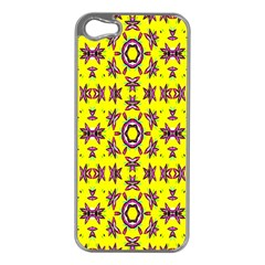 Yellow Seamless Wallpaper Digital Computer Graphic Apple iPhone 5 Case (Silver)