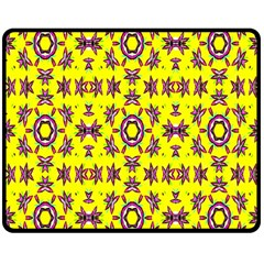 Yellow Seamless Wallpaper Digital Computer Graphic Double Sided Fleece Blanket (Medium)