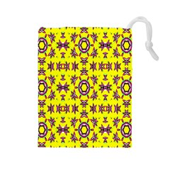 Yellow Seamless Wallpaper Digital Computer Graphic Drawstring Pouches (Large)