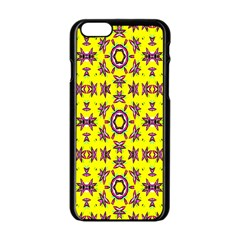 Yellow Seamless Wallpaper Digital Computer Graphic Apple Iphone 6/6s Black Enamel Case
