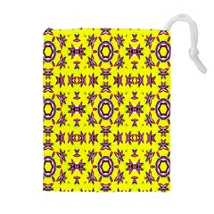 Yellow Seamless Wallpaper Digital Computer Graphic Drawstring Pouches (Extra Large)