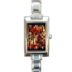 Forest Trees Abstract Rectangle Italian Charm Watch