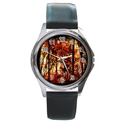 Forest Trees Abstract Round Metal Watch