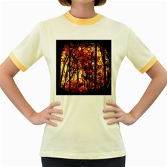 Forest Trees Abstract Women s Fitted Ringer T-Shirts