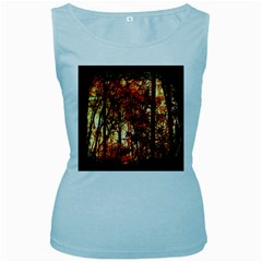 Forest Trees Abstract Women s Baby Blue Tank Top