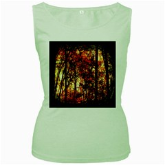 Forest Trees Abstract Women s Green Tank Top