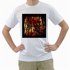 Forest Trees Abstract Men s T-Shirt (White) (Two Sided)
