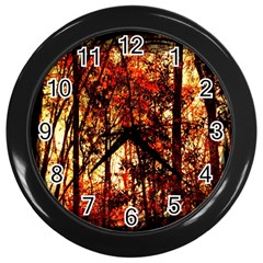 Forest Trees Abstract Wall Clocks (Black)