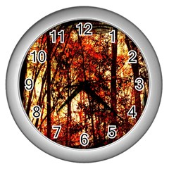 Forest Trees Abstract Wall Clocks (Silver)