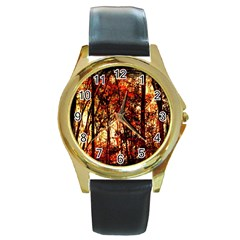 Forest Trees Abstract Round Gold Metal Watch