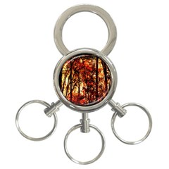 Forest Trees Abstract 3 Ring Key Chains