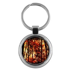 Forest Trees Abstract Key Chains (Round)