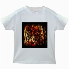Forest Trees Abstract Kids White T-Shirts