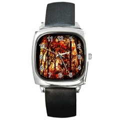 Forest Trees Abstract Square Metal Watch