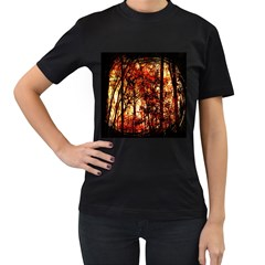 Forest Trees Abstract Women s T-Shirt (Black) (Two Sided)