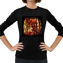 Forest Trees Abstract Women s Long Sleeve Dark T-Shirts