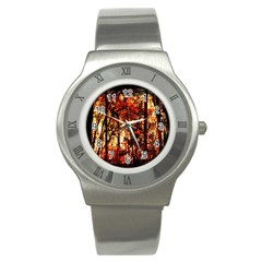 Forest Trees Abstract Stainless Steel Watch