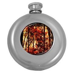 Forest Trees Abstract Round Hip Flask (5 Oz)