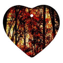 Forest Trees Abstract Heart Ornament (Two Sides)