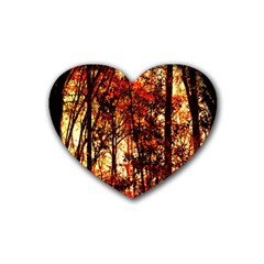 Forest Trees Abstract Rubber Coaster (heart)