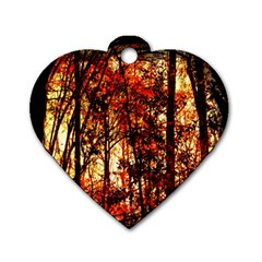 Forest Trees Abstract Dog Tag Heart (two Sides)
